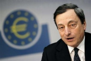 The European Central Bank will gear up to buy Italian and Spanish bonds on the ... - Draghi-EZB-300x202